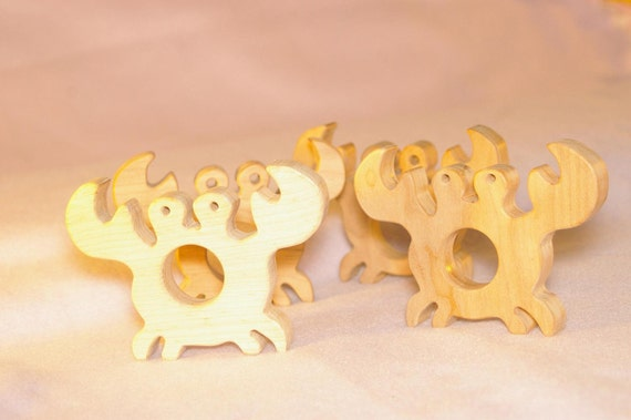 Natural Wooden Teething Toy - Crab