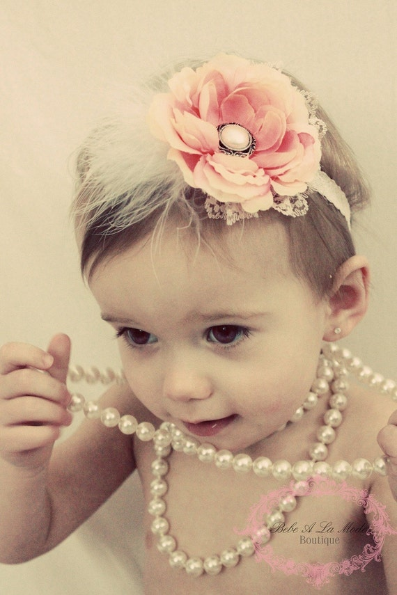 Light Pink Vintage Inspired Flower Headband Photo Prop Lace Pearl Center