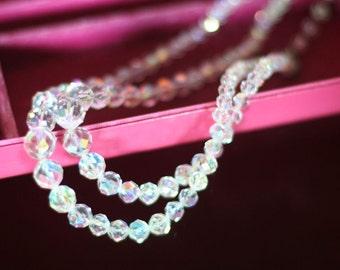 Vintage Glass Aurora Borealis Facet Necklace