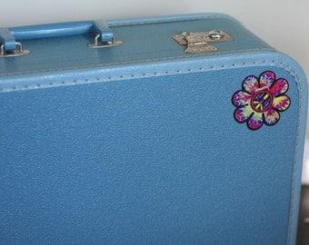 Vintage Run Away Blue Suitcase