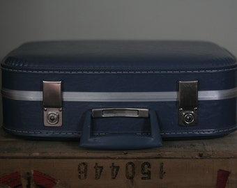 vintage small blue suitcase