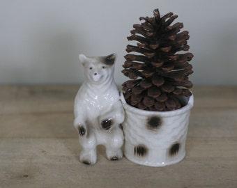 vintage ceramic bear with basket planter