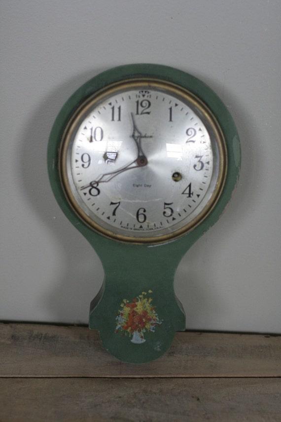 vintage ingraham eight day wall clock