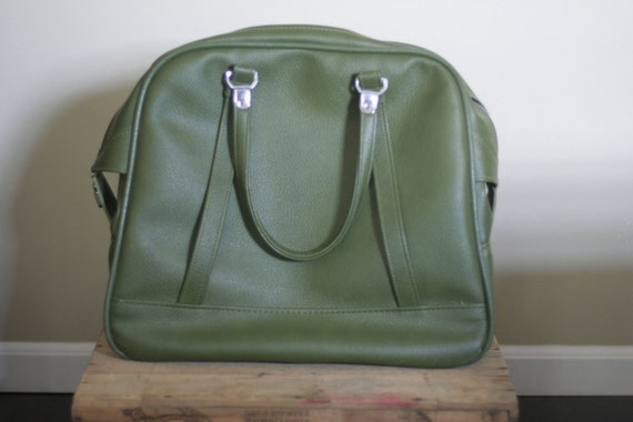 vintage moss green american tourister carry on bag