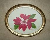 Poinsettia, Original Oil Painting, 14x11 oval