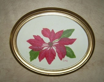 Poinsettia, Original Oil Painting, 14x11 oval