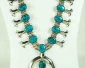 Vintage 70s SQUASH BLOSSOM Faux Turquoise and Silver NECKLACE // Signed Goldette // Huge and Heavy