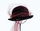 Vintage 60s FRANK OLIVE Mesh and Wool Brimmed Bowler Hat