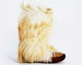 Vintage 70s Mocatem GOAT HAIR Authentic YETI Fur Boots Size 7 / 37.5