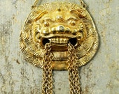 Vintage 70s Statement Necklace - RUNWAY - Tassel CHINESE LION Pendant - Extra Long Necklace