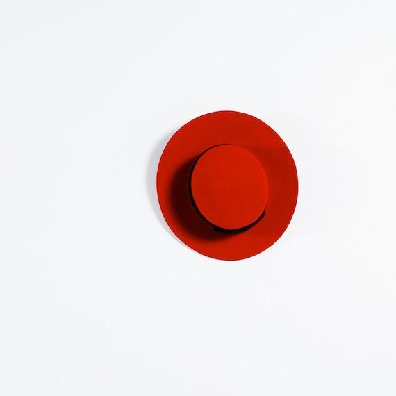 Vintage 80s LIZ CLAIBORNE Lipstick RED Pork Pie Hat