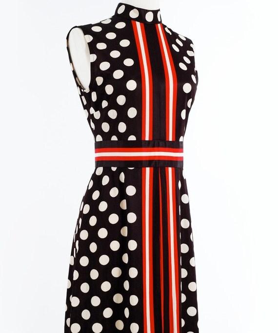 Vintage 60s POLKA DOT Art Deco Black White and Red Maxi Dress