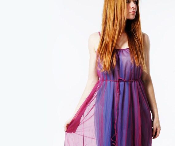 SUGAR PLUM Maxi Dress Sheer - DEADSTOCK 70s Vintage