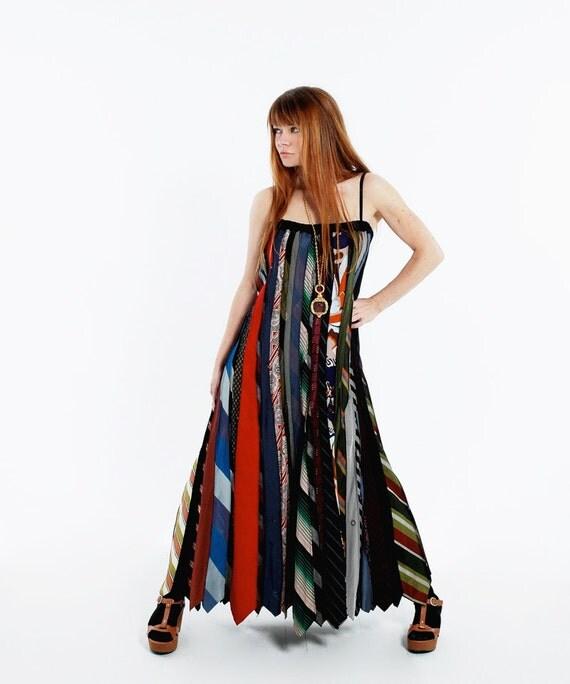Vintage 70s SILK NECKTIE Patchwork Maxi DRESS - Striped Festival Dress