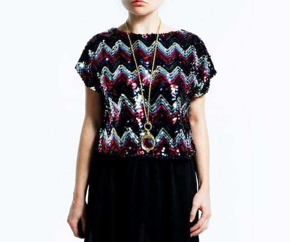 Vintage 80s ZIG ZAG Sequin Mini Dress - Disco Deadstock