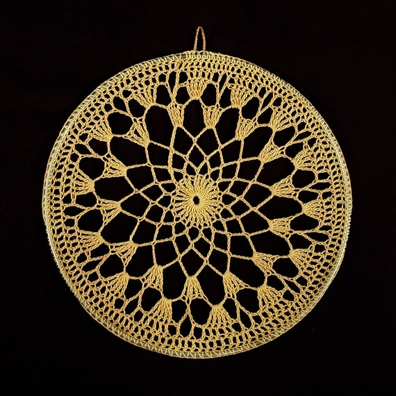 Vintage 60s GOLDEN Yellow Crocheted DREAM CATCHER Base