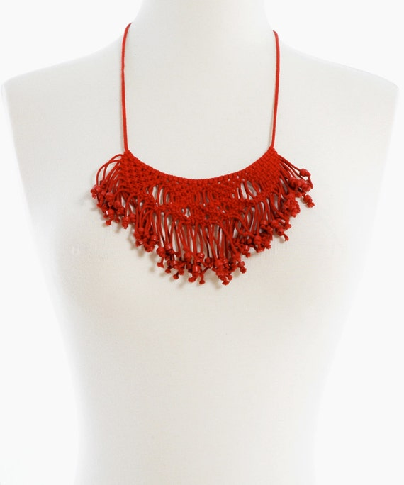 Vintage 70s Red MACRAME Fringe Bead BIB Necklace