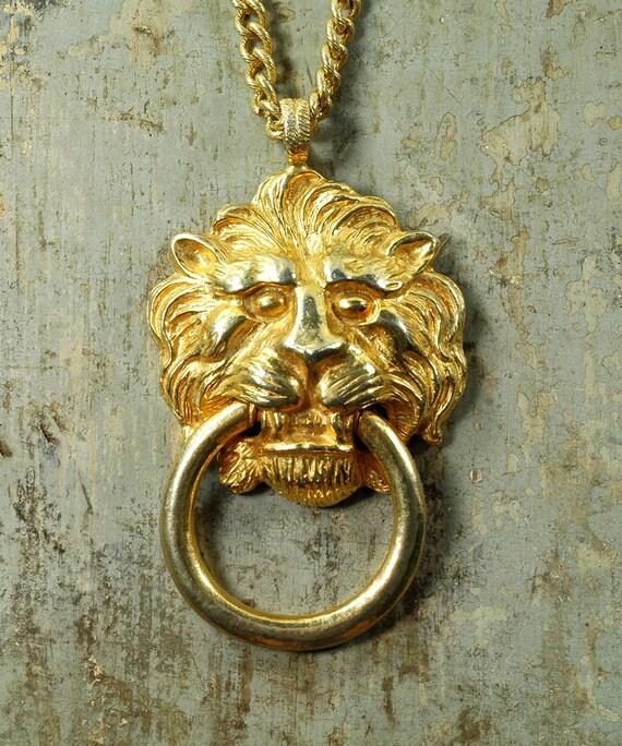 Vintage 70s Huge KENNETH LANE Lion Door Knocker PENDANT Statement Necklace