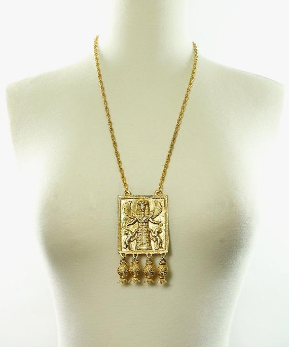 On Hold Vintage 70s Huge EGYPTIAN GODDESS Necklace - Dangle Pendant - SIGNED Kopelan