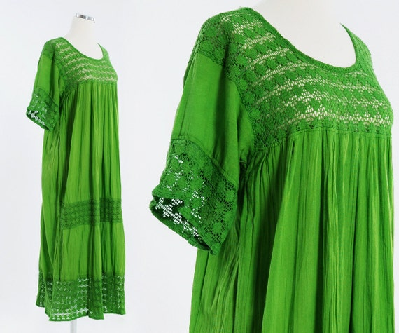 Vintage CROCHET Maxi Dress - Kaftan - Spring Green Festival GAUZE Dress