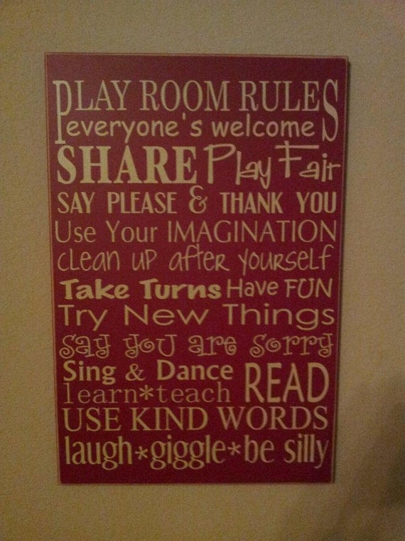 Play Room Rules. Subway style sign