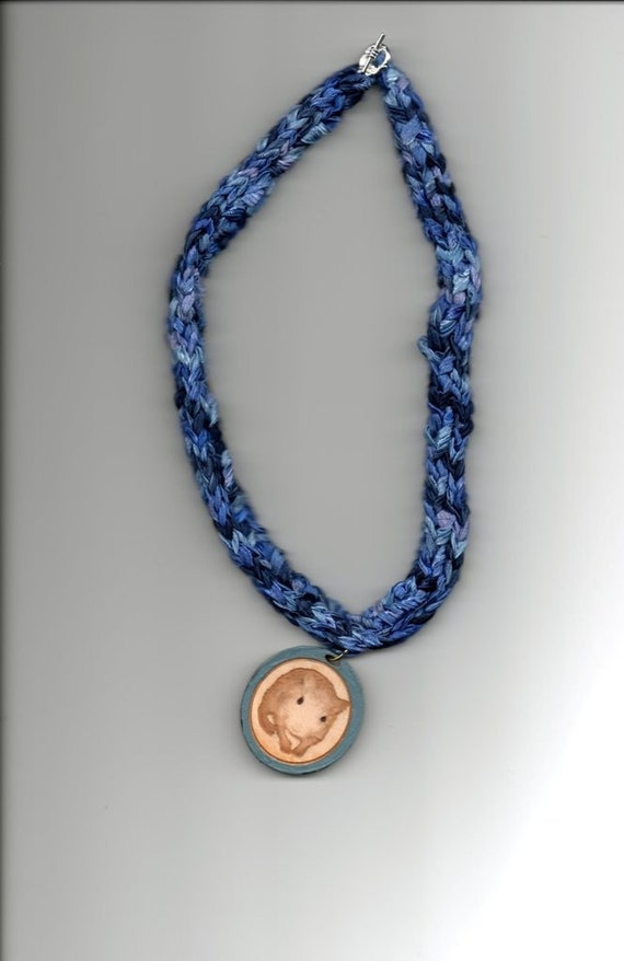 Knitted Gerbil Necklace - 18 Inch Blue (Trixie)