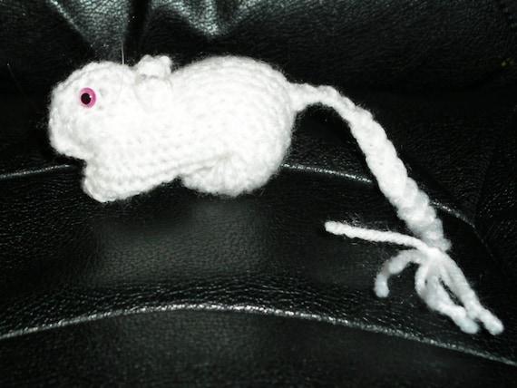 Knitted White PEW (Pink Eyed White) Gerbil