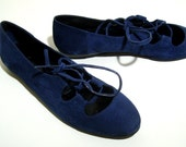 Blu suede ballet flats (Ballerina shoes) - Size 6.5 - 80s - Made in Italy - New and never worn