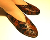 Vintage flats 7.5 leather suede black brown pattern 80s unworn spring shoes