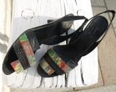 80s leather sandals 8 9 colorful patterns heels new vintage unworn rare