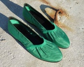 green ballet flats 5 moirè spring shoes new vintage 80s unworn