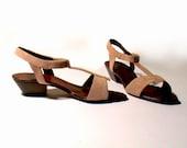 pink sandals 6 7 leather suede python snakeskin heels 80s new vintage unworn