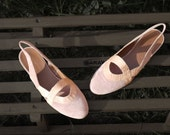 pink sandals 7 leather flat closed top reptile suede reptile new vintage 80s unworn spring shoes