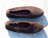 Flats 6.5  colorful suede leather ballerina lined pattern 80s vintage unworn spring shoes