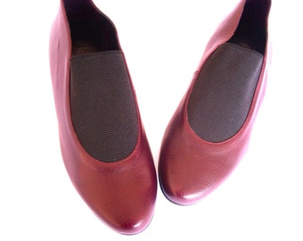 Brown leather shoes slip on 6.5 flat closed new vintage 80s unworn 6 7