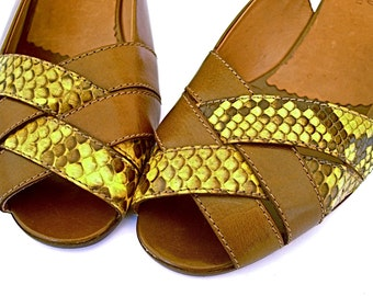 Yellow python and brown calf heeled sandals - Size 6.5 - 80s - Made in Italy - New and never worn