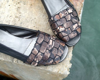 Python Stripes Peep-toe - size 5.5 - 80s - Made in Italy - New and Never Worn