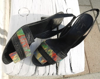 80s leather sandals 8 9 colorful patterns heels new vintage unworn rare