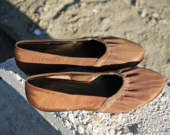 brown ballet flats 5 moirè spring shoes new vintage 80s unworn