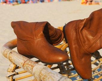 brown leather boots 5.5 flat new vintage 80s unworn