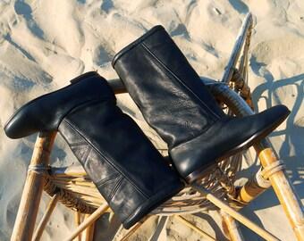black boots 5.5 leather 80s new vintage unworn