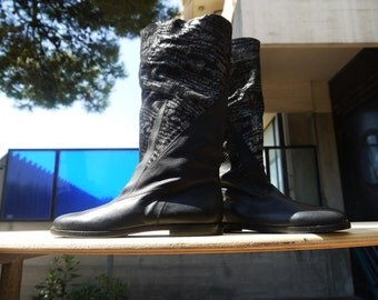 Black pattern soft leather boots - size 7.5 - 80s - Made in Italy - New and Never Worn
