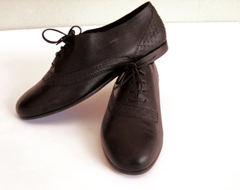 black leather shoes 5.5 7 8 python snakeskin closed lace-up flat 80s new vintage unworn