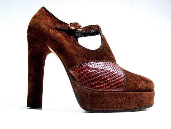 High heels pumps plateau vintage 70s brown python snakeskin leather unworn rare