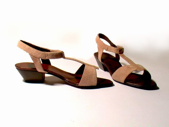 pink sandals 6 7 leather suede python snakeskin heels 80s new vintage unworn