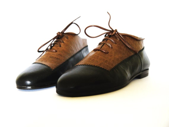 black brown leather shoes 8.5 closed lace-up flat bicolor 80s new vintage unworn classic