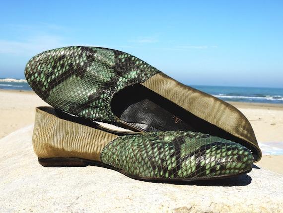 Flats 6.5 snakeskin python green ballerina 80s vintage unworn spring shoes