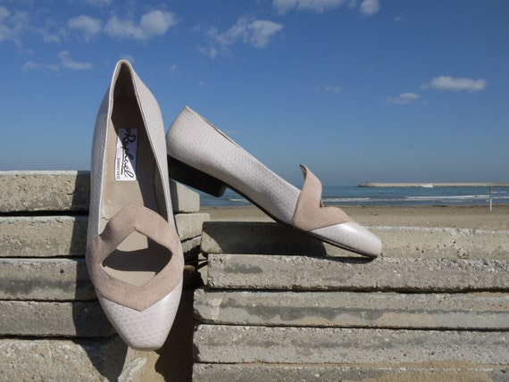 Pink leather shoes slip on 8 low heels new vintage 80s unworn spring shoes
