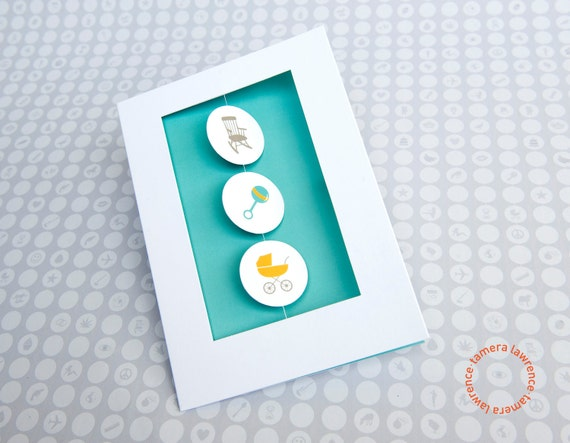 Rock, Rattle and Roll Rebus New Baby Card