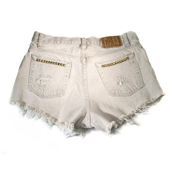 Sale / 32W / Studded Shorts / High Waist Cut Offs Vintage Tan